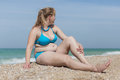 Overweight blond at the sea Royalty Free Stock Photo