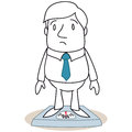 Overweight businessman standing on scales vector illustration of a monochrome cartoon character looking surprised Stock Photography