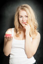 Overweight Concept. Temptation. Woman and Cake Royalty Free Stock Photo