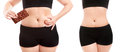 Overweight concept woman s body before and after a diet Stock Photos