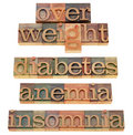 Overweight, diabetes, anemia, insomnia Stock Photo