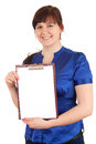 Overweight, fat woman with blank clipboard Royalty Free Stock Photo