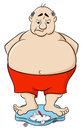 Overweight man on bathroom scale