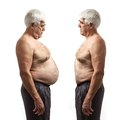 Overweight man and regular weight man over white background Royalty Free Stock Images