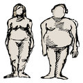 Overweight man and woman an image of an Stock Photography