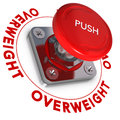 Overweight problems decision making concept ermergency button with the word written around it white background and red text over Royalty Free Stock Photography