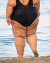 Overweight woman on the beach unrecognizable person Royalty Free Stock Images