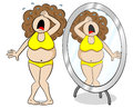 Overweight woman cries in front of a mirror Royalty Free Stock Photo