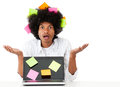 Overwhelmed afro man Stock Photos