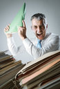 Overwork overworked mature business man screaming in anger Royalty Free Stock Images