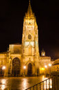 Oviedo cathedral detail of the of spain at night Stock Photo