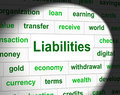 Owe liabilities means bad debt and arrears debts indicating indebt financial Stock Photos