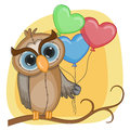 Owl with baloons greeting card balloons Stock Photo