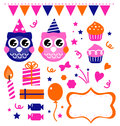 Owl birthday party design elements Stock Image