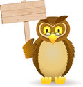 Owl and blank signboard Royalty Free Stock Photo