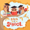 Owl in branch. Back to school september autumn concept background with birds with books and backpack vector cartoon