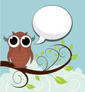 Owl on a branch vector illustration background Stock Images