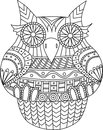 Owl contour vector image. Stripes tribal pattern. Cartoon style bird for coloring book and other.