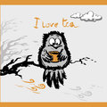 Owl with a cup tea in the autumn, vector illustration