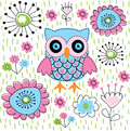 Owl cute floral garden illustration Royalty Free Stock Photography