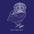 Owl in dark blue painted white outline on a background Royalty Free Stock Photos