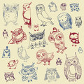 Owl doodle collection getrokken hand vector Royalty-vrije Stock Afbeeldingen
