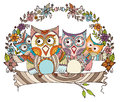 Owl family doodle Fotos de Stock Royalty Free