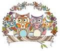 Owl family doodle Royaltyfria Foton