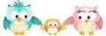 Owl family feliz Fotografía de archivo libre de regalías