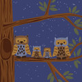 Owl family on the tree illustration of Royalty Free Stock Photography