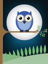 Owl full moon Stock Image