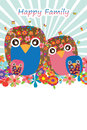 Owl handmade happy family Royalty Free Stock Photo