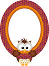 Owl hanging in a frame scalable vectorial image representing isolated on white Stock Photo