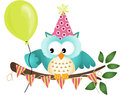 Owl happy birthday scalable vectorial image representing a isolated on white Stock Photography