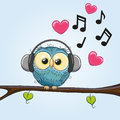 Owl with headphones cute cartoon Royalty Free Stock Image