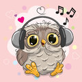 Owl with headphones and hearts