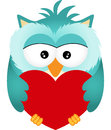 Owl with heart scalable vectorial image representing a isolated on white Royalty Free Stock Photo