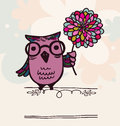 Owl on holiday background intelligent with flower retro style eps Royalty Free Stock Photo