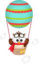 Owl in a hot air balloon scalable vectorial image representing isolated on white Royalty Free Stock Photos