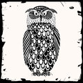 Owl illustration black and white with black frame Royalty Free Stock Photography