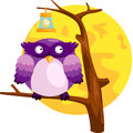 Owl illustration of isolated cute on the branch Royalty Free Stock Photo