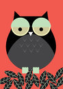 Owl illustration vector of with leaves Stock Photography