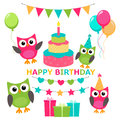 Owl invitations cute celebration cards Royalty Free Stock Photo