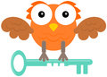 Owl with key a cartoon illustration of an holding a Royalty Free Stock Photos