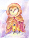 Owl with a lamp. Watercolor painting. Illustration with a magic Royalty Free Stock Photo
