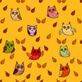 Owl leaves vector seamless pattern.