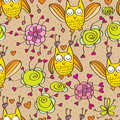 Owl love flower cute seamless pattern Royalty Free Stock Photo