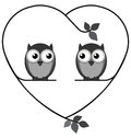 Owl lovers valentine on a heart branch isolated on white background Royalty Free Stock Photo