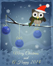 Owl marry christmas and happy new little brown on snowy branch text Royalty Free Stock Images