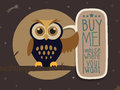 Owl with a message board easy cartoon illustration of cute Royalty Free Stock Photo